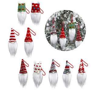 Handmade Christmas Tree Ornaments,9 Pack Xmas Plush Hanging Ornaments, Gnomes Decorations-Xmas Decorative Gift-Elf Doll for Christmas New Year Holiday