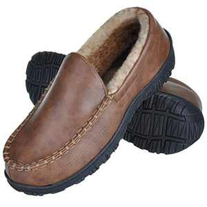 MIXIN Mens Moccasin Slippers-Wide Memory Foam Warm Fleece Indoor Outdoor House Shoes Slip on Faux Leather Loafer for Driving Brown 8
