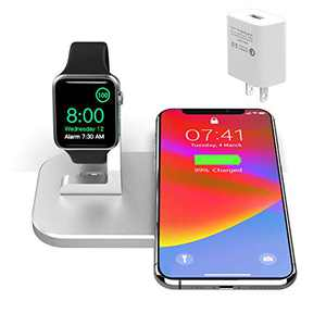 BNCHI 2 in 1 Aluminum Alloy Charging Station Compatible with iPhone12/12 Mini/12 Pro Max/11/11pro/X/Xs/Xs MAX/8 Plus/8 and iWatch 6/5/4/3/2/1(with QC3.0 Adapter)