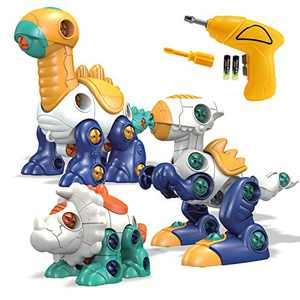 Kids Toys Stem Dinosaur Toy: Toys for 3 4 5 6 7 8 Year Old Boys Girls|Take Apart Dinosaur Toys for Kids 3-5| Building Construction Learning Educational Toys with Electric Drill| Birthday Gifts Age 3-8