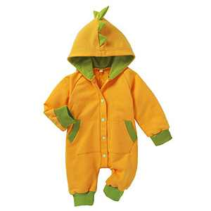 Newborn Baby Unisex Winter Little Dinosaur Hooded Onesies(Green 0-3 Months)