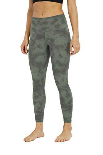 BOLIVO Women's Workout Yoga Printed Ultra Soft High Waist 7/8 Length Leggings (Diamond Dye Avocado Green,X-Large)