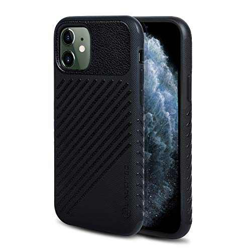 LAUDTEC iPhone 11 Case 6.1 inch Stripe Pattern of Leather Material with Anti-Skid Texture Design and TPU Hybrid Case Cover for iPhone 11 2019 (Black)