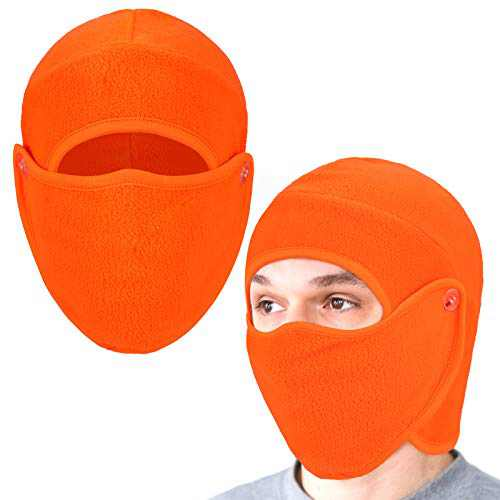 Geyoga 2 Pieces 2 in 1 Men's Hat Balaclava with Face Covering Warm Winter Cold Weather Headgear for Men Women (Fluorescent Orange)