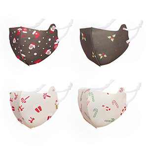 Jamal Kids Face Mask, Christmas Face Mask 4 PCS Reusable Face Mask Washable Cover for Christmas Party Supplies …