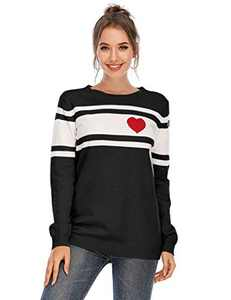 Cogild Pullover Sweaters for Women, Heart Stripe Crewneck Long Sleeve Knitted Sweater, Color Block Casual Loose Pullovers Jumper Tops
