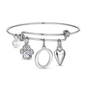 Ursteel Dog Mom Gifts for Women, Cubic Zirconia Letter O Initial Paw Print Bracelet for Women Dog Mom Jewelry, Cat Dog Lover Gifts Mothers Day Valentines Gifts Loss of Dog Sympathy Pet Memorial Gifts