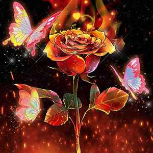 """Diamond Painting Kits for Adults Beginner & Kids,DIY 5D Round Full Drill Easy Paint by Diamonds for Home Wall Decor -Rose Flower with Butterfly 12"""" X 12"""""""