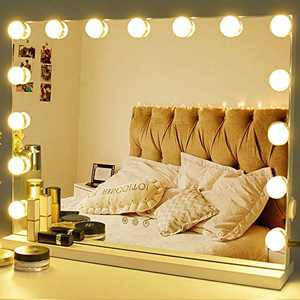 Zdorzi Vanity Mirror Makeup Mirror with Lights,Large Hollywood Lighted Vanity Mirror with 15 Dimmable LED Bulbs ,3 Color Modes,Touch Control for Dressing Room & Bedroom,Tabletop or Wall-Mounted (23in)