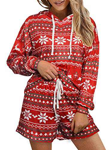 Women's Christmas Pajamas 2 Piece Set Long Sleeve Holiday Reindeer Shorts Sleepwear Loungewear Pjs Sets Red,XL