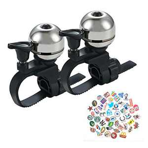 YIWINIAID Bike Bell, 2Pcs Bicycle Bells 360 Degree Rotation, Adjustable Long Crisp Melodious Sound Bike Bell with Stickers for Adult Kids, Fits Handlebars 16-38 mm, Silver