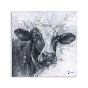 """Cow Picture Black and White: Cow Decor for Home Framed Cow Kitchen Decorations Ready to Hang (24""""x24""""x1 Panel)"""