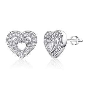 Heart Stud Earrings for Girls Women, S925 Sterling Silver Post 14k White Gold Plated CZ Hypoallergenic Stud Earrings for Women Sensitive Ears Dainty Heart Stud Earrings for Girls Women Baby Kids