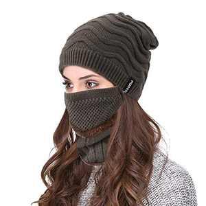 VBIGER 3 PCS Winter Beanie Hats Scarf Set Knit Hats Skull Cap Neck Warmer Scarf for Men Women… Brown