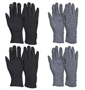 Woogwin 2/4 Pairs Winter Gloves for Women Warm Touchscreen Windproof Fleece Gloves Girls Cold Weather(4pcs 2Black+2Grey)
