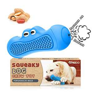 """Qtezoo Squeaky Dog Toys, Durable Dog Chew Toy Clean Teeth for Aggressive chewers-Hardly Indestructible Rubber Dog Toys Interactive Exercise for Medium and Large Breed 6.3""""L (Peanut Flavor)"""