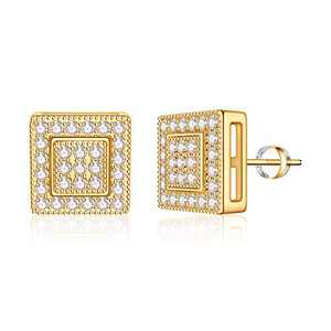 Square Stud Earrings for Girls Women, S925 Sterling Silver Post 14k Gold Plated CZ Hypoallergenic Stud Earrings for Women Sensitive Ears Dainty Square Stud Earrings for Girls Women Baby Kids