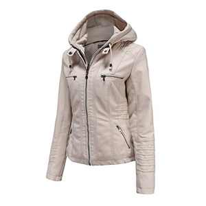 Tagoo Faux Leather Jacket Women Motorcycle Coat for Biker with Removable Hood Plus Size Off-White