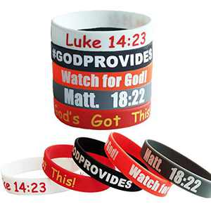 MasGo 20 Pack Christian Silicone Wristbands Religious Sayings Rubber Bracelet Popular Bible Verses Faith Rubber Bracelets Jewelry Gifts