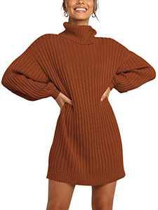 Margrine Women Oversized Turtleneck Long Sleeve Sweater Dress Casual Loose Knit Pullover Dresses Caramel M2A40-jiaotang-M