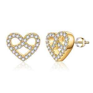 Heart Stud Earrings for Girls Women, S925 Sterling Silver Post 14k Gold Plated CZ Hypoallergenic Stud Earrings for Women Sensitive Ears Dainty Heart Stud Earrings for Girls Women Baby Kids