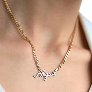 Name Necklace Personalized with Curb Chain, Sterling Silver Custom Necklace with Any Name Customized Charm Jewelry Gift for Christmas, Mother's Day