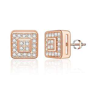 Square Stud Earrings for Girls Women, S925 Sterling Silver Post 14k Rose Gold Plated CZ Hypoallergenic Stud Earrings for Women Sensitive Ears Dainty Square Stud Earrings for Girls Women Baby Kids