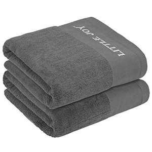 LITTLE JOY Bath Towels Set Extra large100% Cotton Highly Absorbent Super Soft Bathroom Towels Sets (Grey, Set of 2)