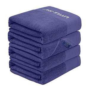 LITTLE JOY Bath Towels Set Extra Large 100% Cotton Highly Absorbent Super Soft Bathroom Towels Sets (Blue, Set of 4)