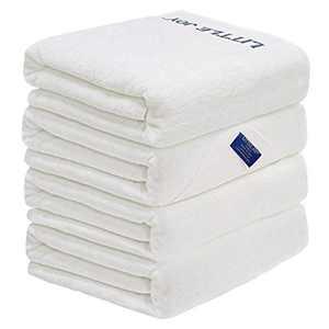 LITTLE JOY Bath Towels Set Extra Large 100% Cotton Highly Absorbent Super Soft Bathroom Towels Sets (White, Set of 4)