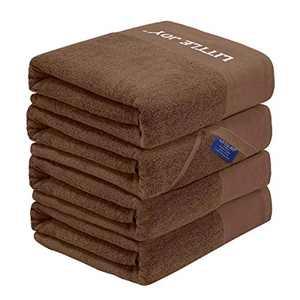 LITTLE JOY Bath Towels Set Extra Large 100% Cotton Highly Absorbent Super Soft Bathroom Towels Sets (Brown, Set of 4)