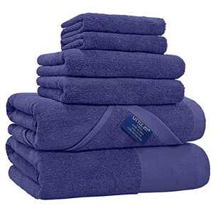 LITTLE JOY Bath Towels Set Extra Large 100% Cotton Shower Towels Highly Absorbent Super Soft Bathroom Towels Sets (Blue, Set of 6)