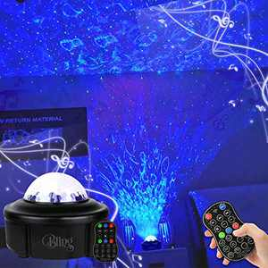 Bling Starry Ocean Wave Musical Light Projector -Led Laser Lights, Bluetooth, Remote Control,Music Projection,Dual Speakers-Ideal for Christmas Lights,Decorations,Birthdays,Parties and Gifts.