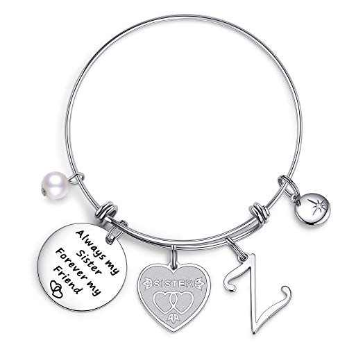IEFIL Sister Gifts from Sister Bracelets, Stainless Steel Always My Sister Forever My Friend Sister Charm Bracelets Expandable Friendship Bangle Bracelets Sister Jewelry Gifts for Birthday Z bracelets