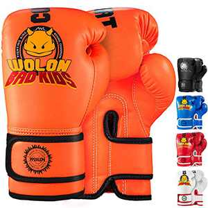 TEKXYZ Bad Kids Series Boxing Gloves 4 OZ, Orange - Synthetic Leather Kids Boxing Training Gloves with Vivid Color for Boys and Girls Age 3 to 12 Years Old