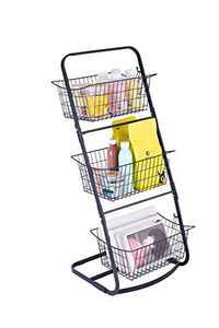 NSFRCLHO Market Basket Stand with 3 Hanging Storage Basket Metal Freestanding Shelf Organizer for Kitchen Fruits Vegetables Bathroom Towels Home Accessories, Black
