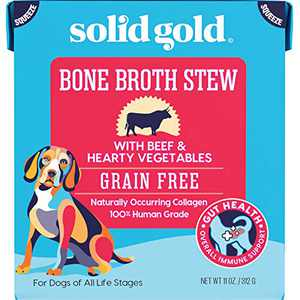 Bone Broth Stew Beef – Human Grade Meal Topper Treat for Dogs – Natural Collagen for Gut Health – Holistic & Grain-Free – Great for Picky Eaters (6 Count)