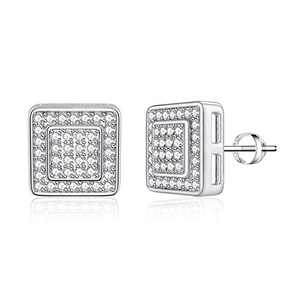 Square Stud Earrings for Girls Women, S925 Sterling Silver Post 14k White Gold Plated CZ Hypoallergenic Stud Earrings for Women Sensitive Ears Dainty Square Stud Earrings for Girls Women Baby Kids