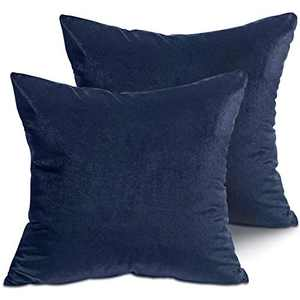 LITTLE JOY Velvet Throw Pillow Covers Soft Square Decorative for Couch,Sofa,Bed,Chair 18 x 18 Set of 2 Navy Blue