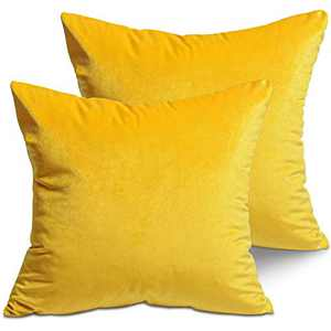 LITTLE JOY Velvet Throw Pillow Covers Soft Square Decorative for Couch,Sofa,Bed,Chair 18 x 18 Set of 2 Sunflower Yellow
