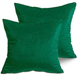 LITTLE JOY Velvet Throw Pillow Covers Soft Square Decorative for Couch,Sofa,Bed,Chair 18 x 18 Set of 2 Teal