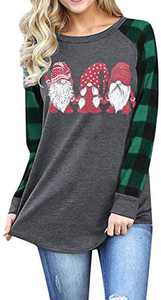 Christmas Plaid Shirt Women Funny Graphic T-Shirt Gnomes Tee Splicing Baseball Tops Holiday Clothes (Green, XL)