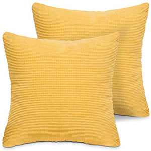 LITTLE JOY Throw Pillow Covers Set of 2 18 x 18 Christmas Decorative Square Cushion Case for Sofa Couch Bedroom(Yellow,Corduroy Granules)