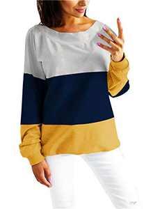 Women's Casual Crew Neck Long Sleeve Shirt Color Block Sweatshirt Blouse Tops (XX-Large, Dark Blue)