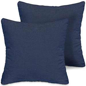 LITTLE JOY Throw Pillow Covers Set of 2 18 x 18 Christmas Decorative Square Cushion Case for Sofa Couch Bedroom(Navy Blue,Corduroy Granules)