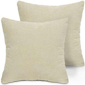 LITTLE JOY Throw Pillow Covers Set of 2 18 x 18 Christmas Decorative Square Cushion Case for Sofa Couch Bedroom(White,Corduroy Granules)