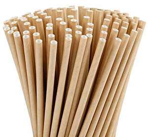 Tomnk 210pcs 7.75 Inch Brown Kraft Paper Straws Biodegradable Drinking Straws- Premium Eco-Friendly & Dye-Free