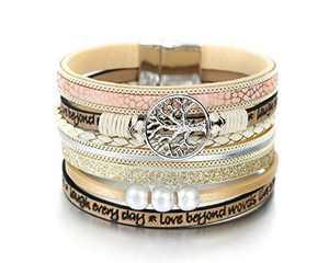 Fesciory Leopard Bracelet for Women Wrap Multi-Layer Leather Bracelet Magnetic Clasp Cuff Bangle Jewelry(Tree of Life(Beige))