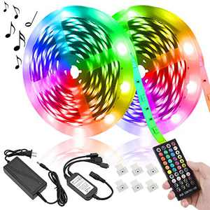 JJGoo LED Strip Lights, 32.8ft/10m Led Lights Music Sync Color Changing, Rope Lights SMD 5050 RGB Light Strips with Remote Controller, Apply for TV, Bedroom, Party and Home, Christmas Decoration
