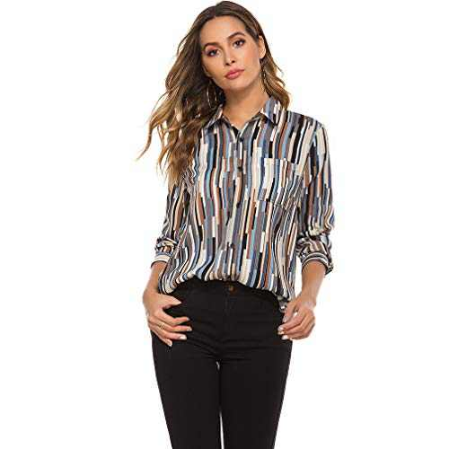 LQWY Women's V Neck Roll up Long Sleeve Button Down Lightweight Casual Striped Print Blouses Shirts Tops Blue
